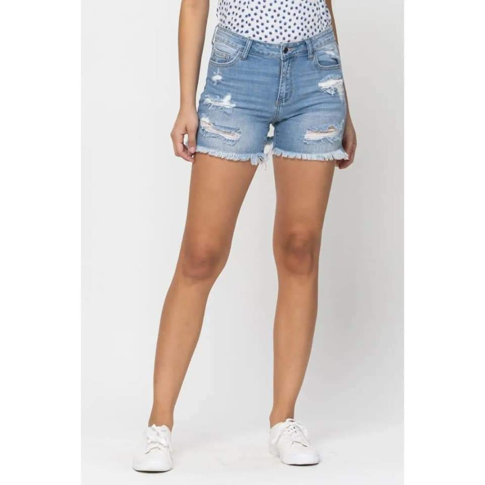 Distressed Cello Denim Shorts