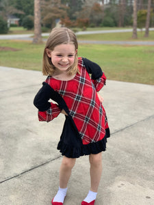 Little Sassy red and black plaid dress