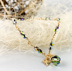 Dark Green Swarovski Crystal 14K Gold-Filled Bracelet