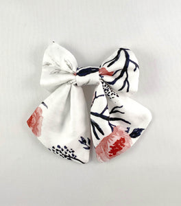 Pink Rose White Hair Bow