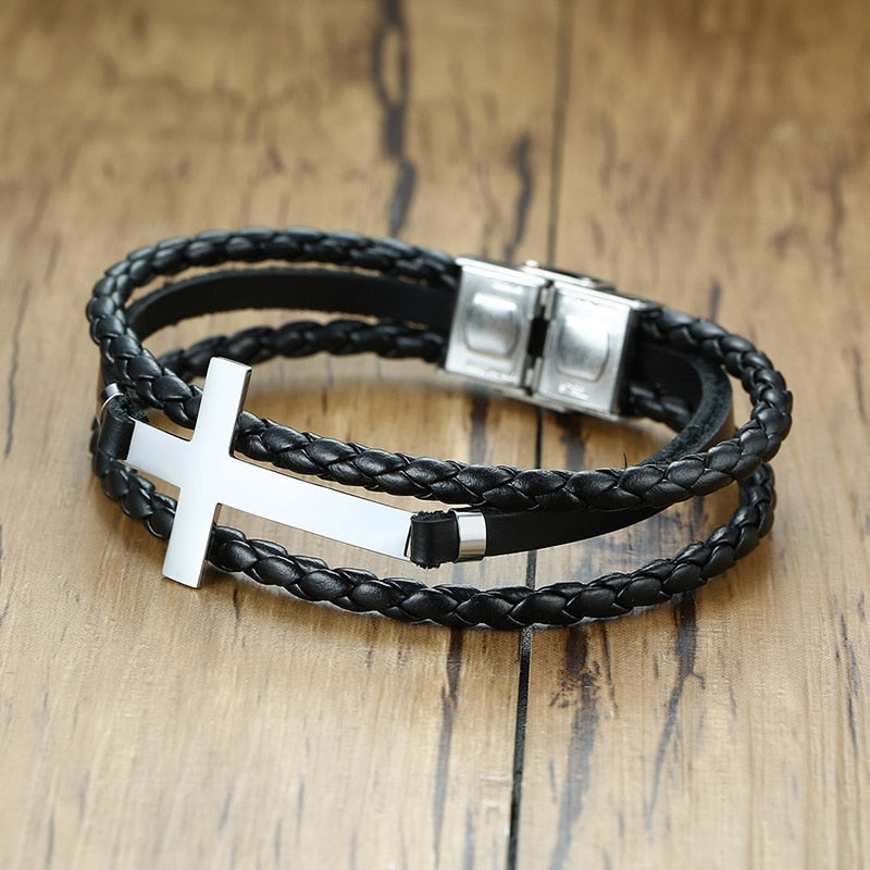 Vox Cross Charm Leather Bangle