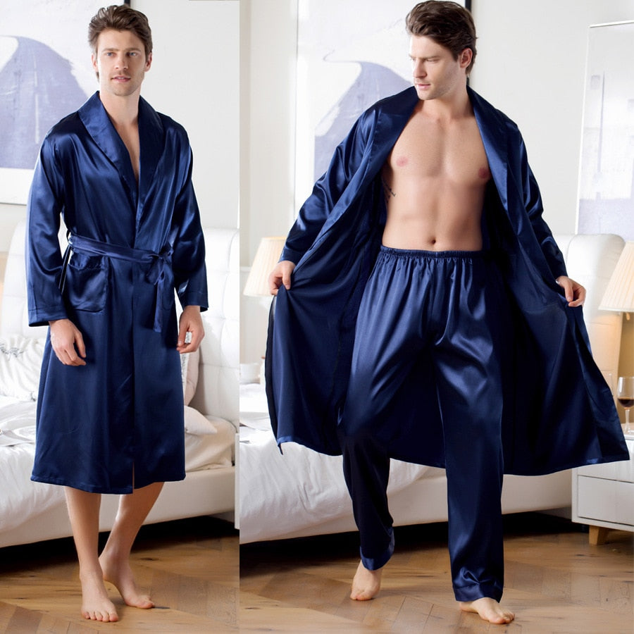 Modern Man Silk Satin Robe Set