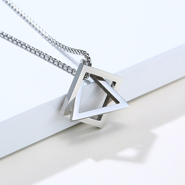 Vnox Stylish Men's Geometric Necklace Minimalist Stainless Steel Rock Punk Triangle and Square Pendant Jewelry