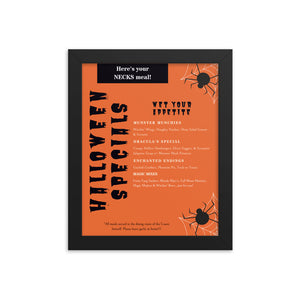 Halloween Specials Framed Menu