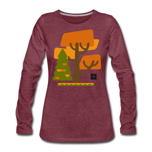 Falling Into Autumn Long Sleeve Tee - heather burgundy