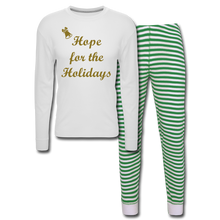 Load image into Gallery viewer, Holiday Hope Pajama Set - white/green stripe