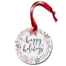 Load image into Gallery viewer, Happy Holidays Ornament - white