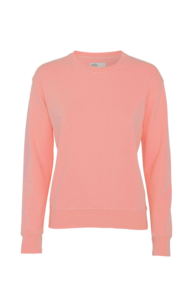Pullover - Women Classic Organic Crewneck Bright Coral - Pink