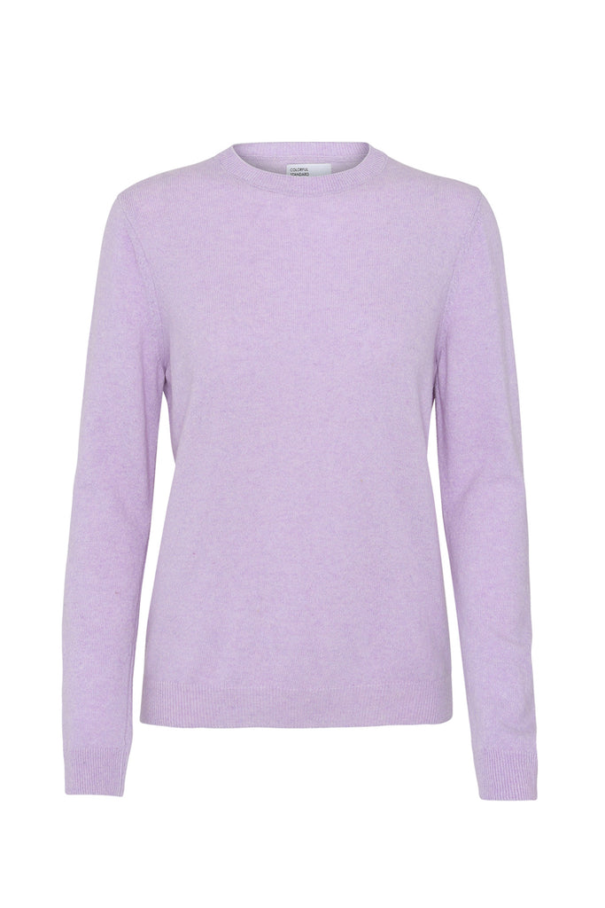 Pullover - Women Light Merino Wool Crewneck Soft Lavender - Lila