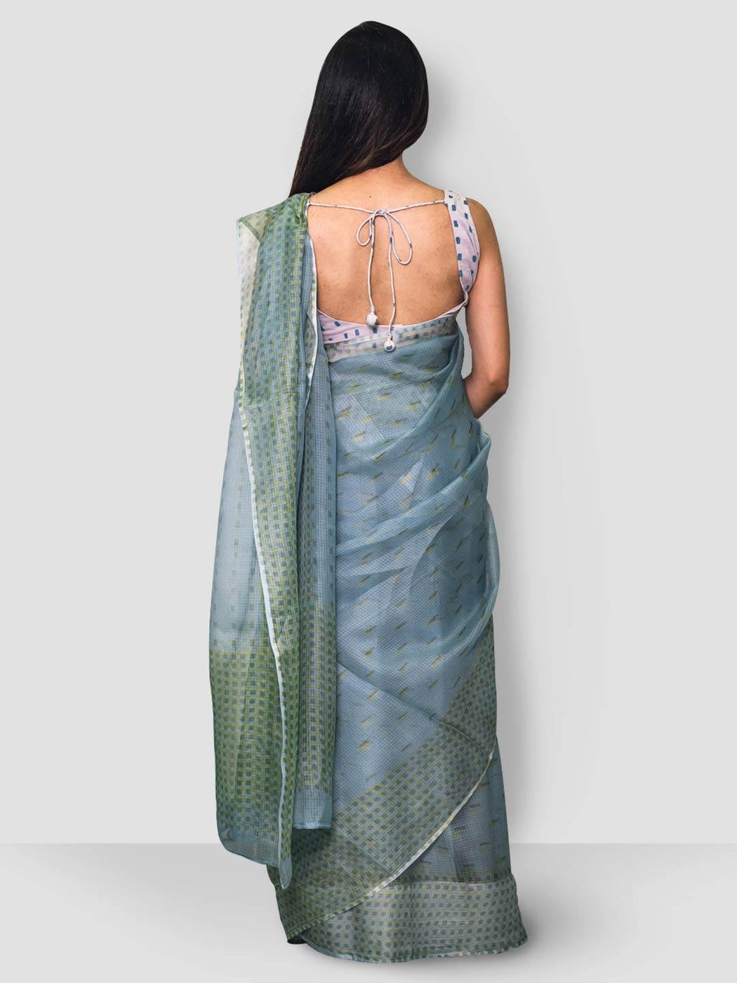 Antheia Kota Silk Saree - Blue, Yellow and Green - Thevasa