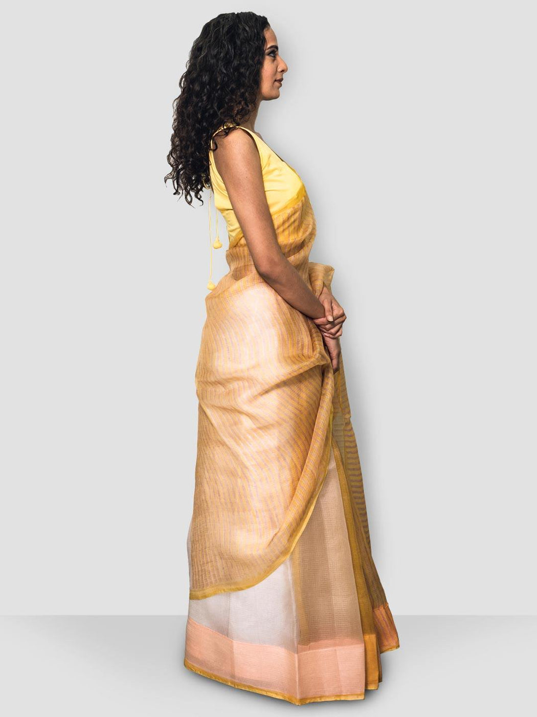 Iris Chanderi Saree -  White, Pink and Yellow - Thevasa