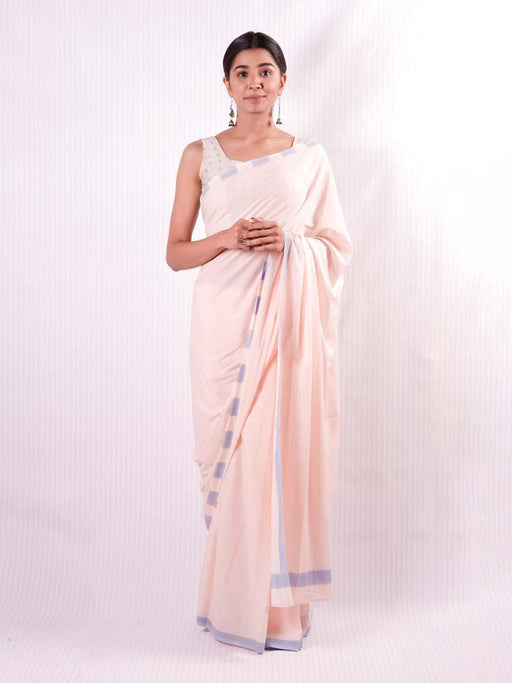 EOS Cotton Saree - Pink and Blue - Thevasa