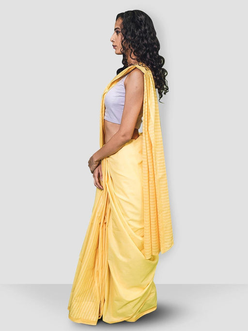 Yellow & Peach Cotton Saree 1