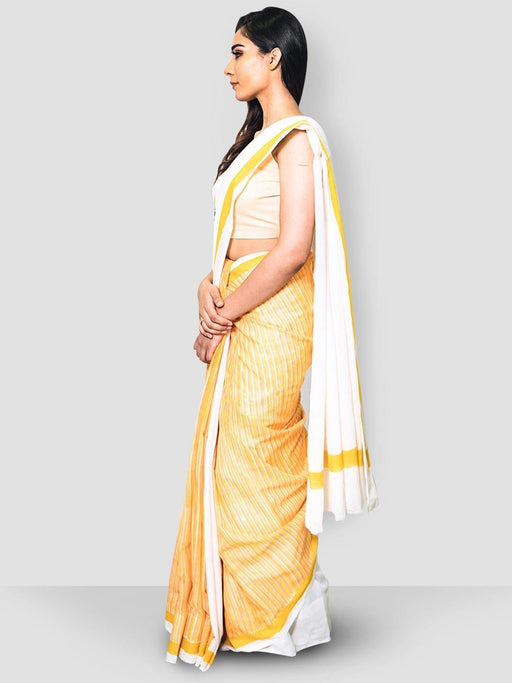 White & yellow Cotton Saree 1
