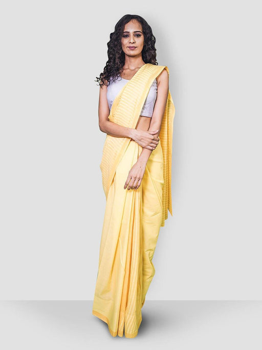The Prasino Cotton Saree - Yellow - Thevasa