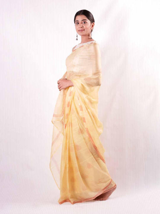 Prasino Medley Kota Silk Saree - Coral on Yellow - Thevasa