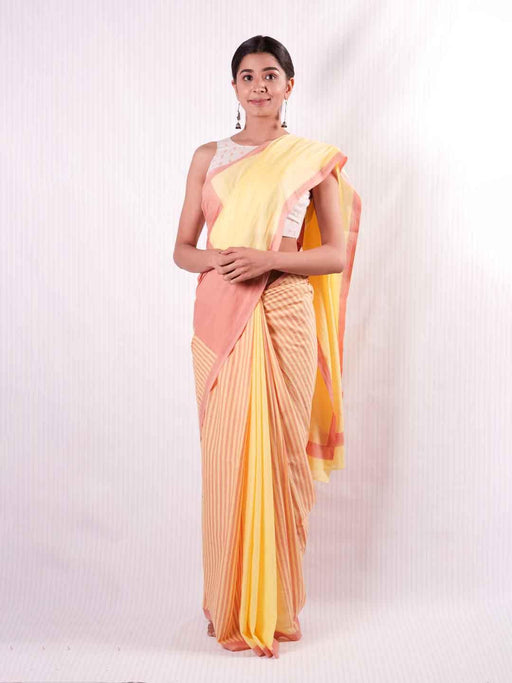 Yellow & Pink Cotton Saree