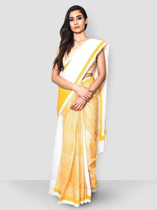 White & yellow Cotton Saree