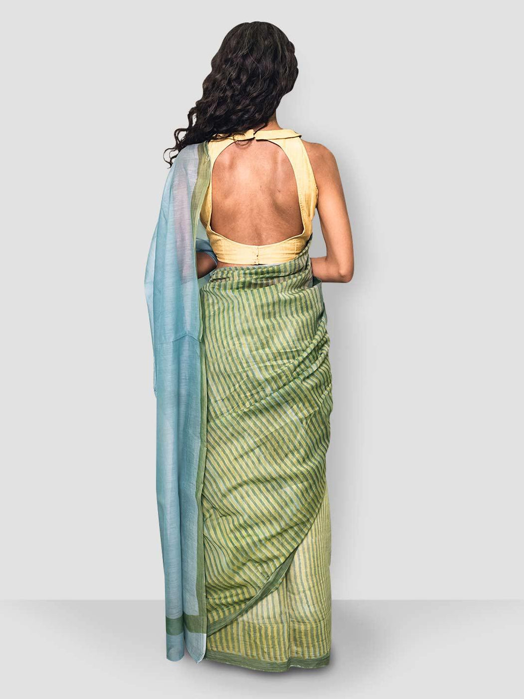 Iris Chanderi Saree - Green, Yellow and Blue - Thevasa