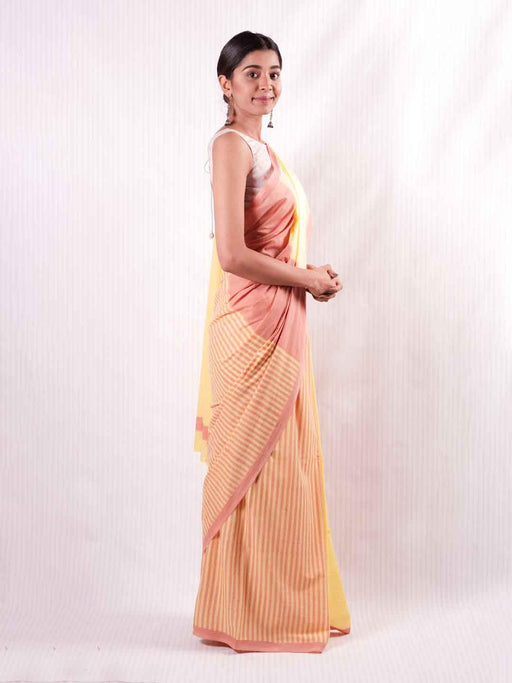 Prasino Cotton Saree - Yellow and Pink - Thevasa