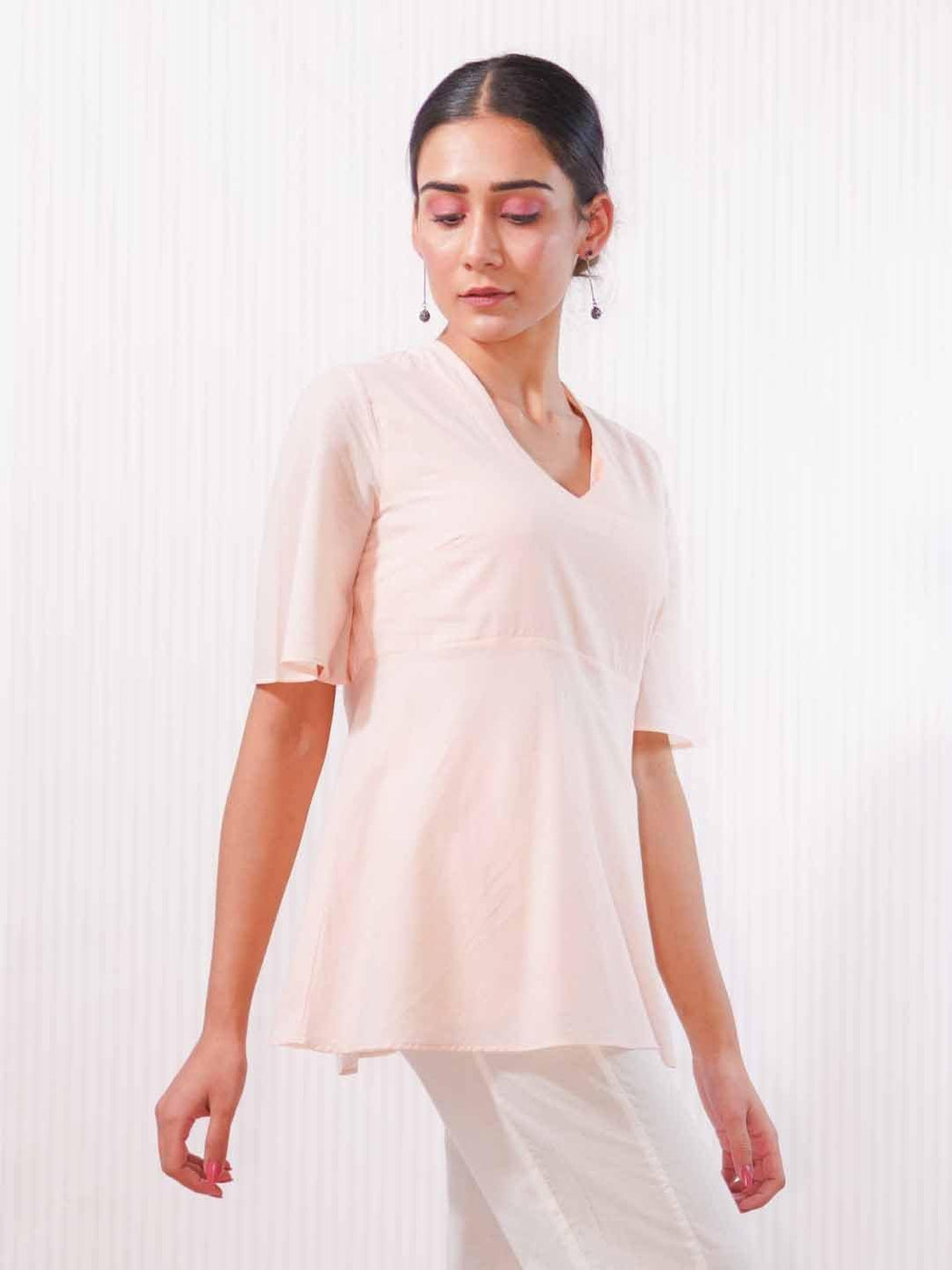 Sunrise Pink - Bell Sleeve Top - Thevasa