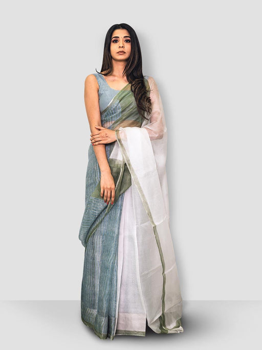 Iris Kota Silk Saree - White, Green and Blue - Thevasa