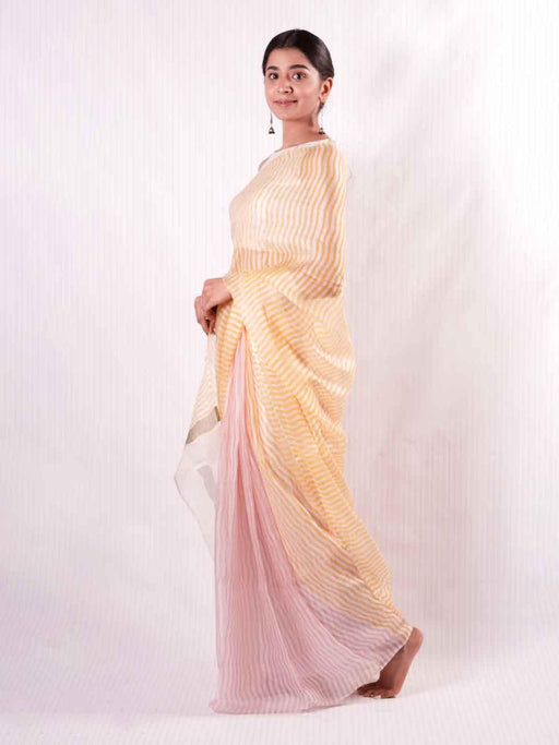 Iris Kota Silk Saree - Yellow and Pink Stripes - Thevasa