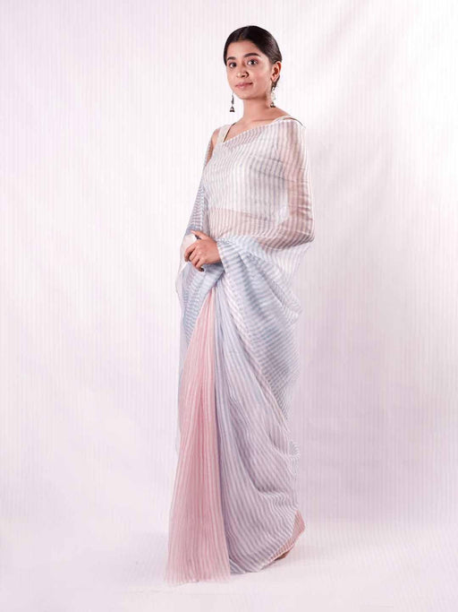 Iris Kota Silk Saree - Blue and Pink Stripes - Thevasa