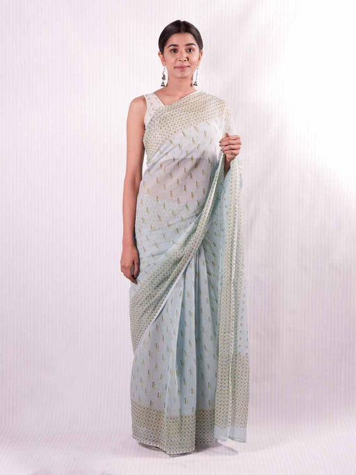 Antheia Chanderi Saree - Blue and Green - Thevasa