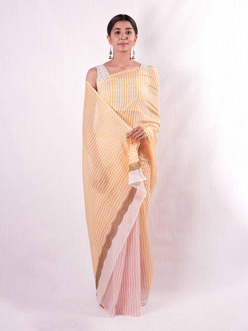 Iris Chanderi Saree - Yellow and Pink Stripes - Thevasa