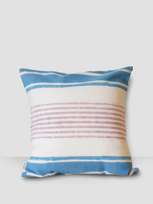 Aegean Hues Cushion Cover - Pink & Blue Stripes - Thevasa