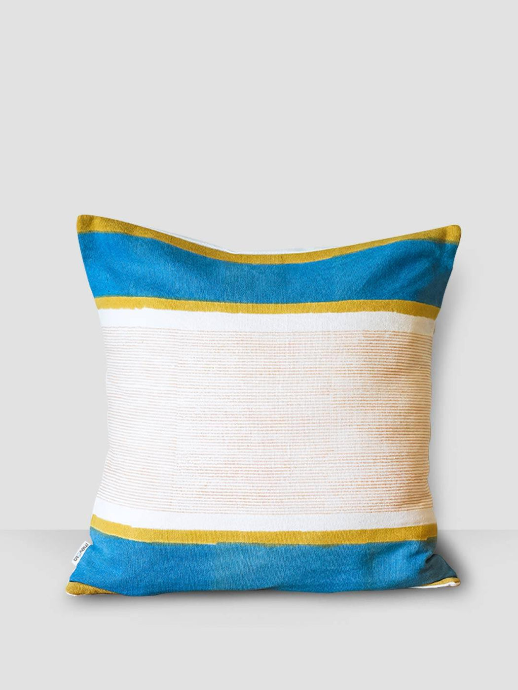 Aegean Hues Cushion Cover - Stripes  With Yellow & Blue Border - Thevasa