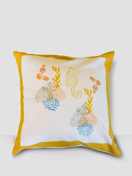 Ahoy Sailor Cushion Cover - Aquatic Plants With Seahorse - Thevasa