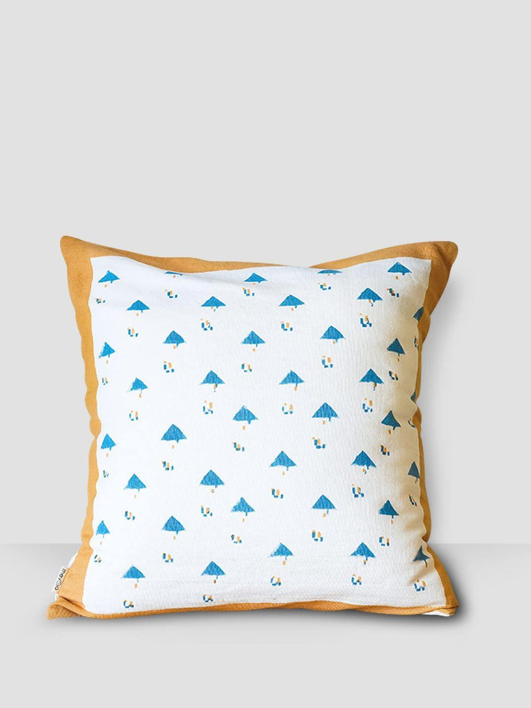 Dome Santorini Cushion Cover - Blue Triangles With Yellow Border - Thevasa