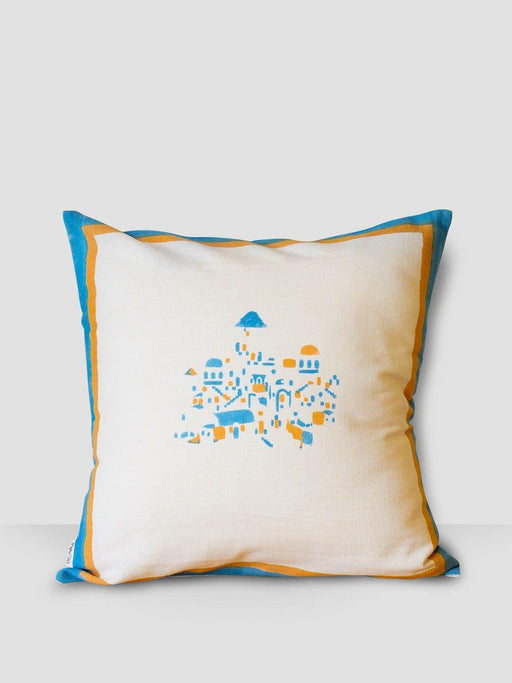 Dome Santorini Cushion Cover - Blue & Yellow Border - Thevasa