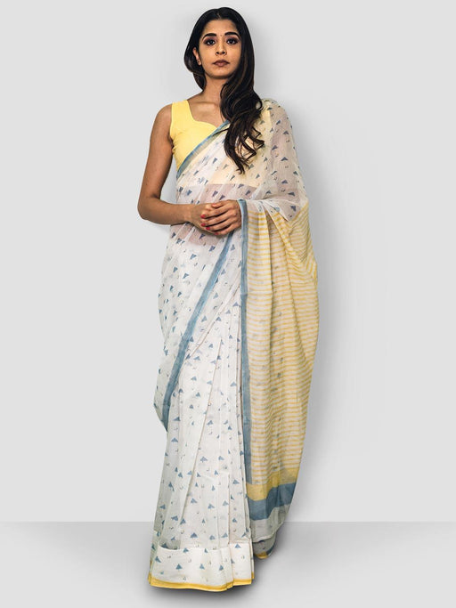 Rendezvous Portokali Chanderi Saree - White, Blue and Yellow - Thevasa