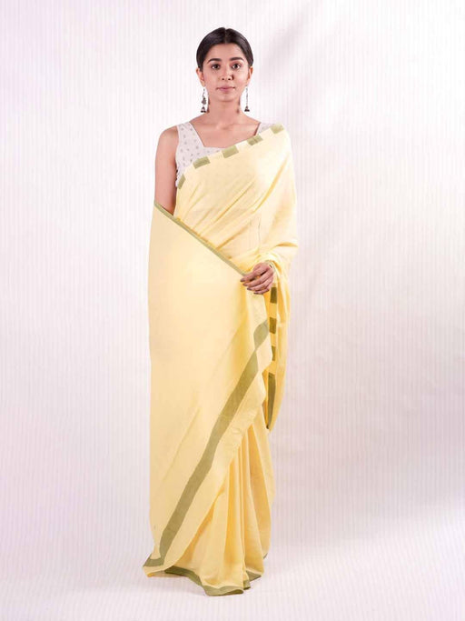 Yellow & Green Cotton Saree