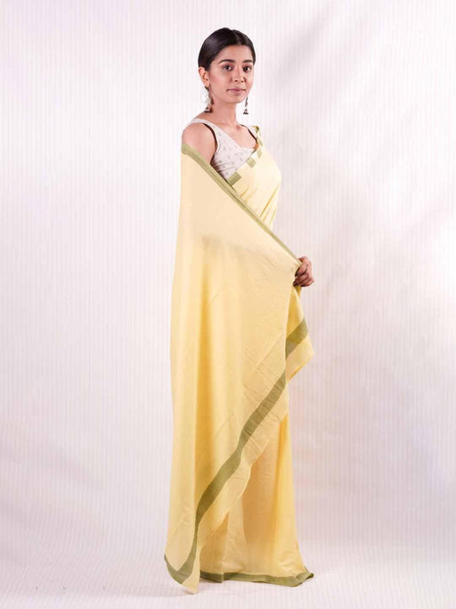Yellow & Green Cotton Saree 1