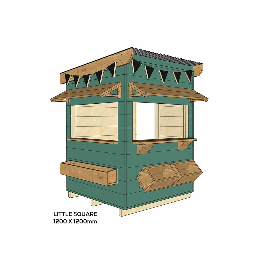 Castle and Cubby Painted Pine Timber Bakery Themed Cubby House Commercial Education