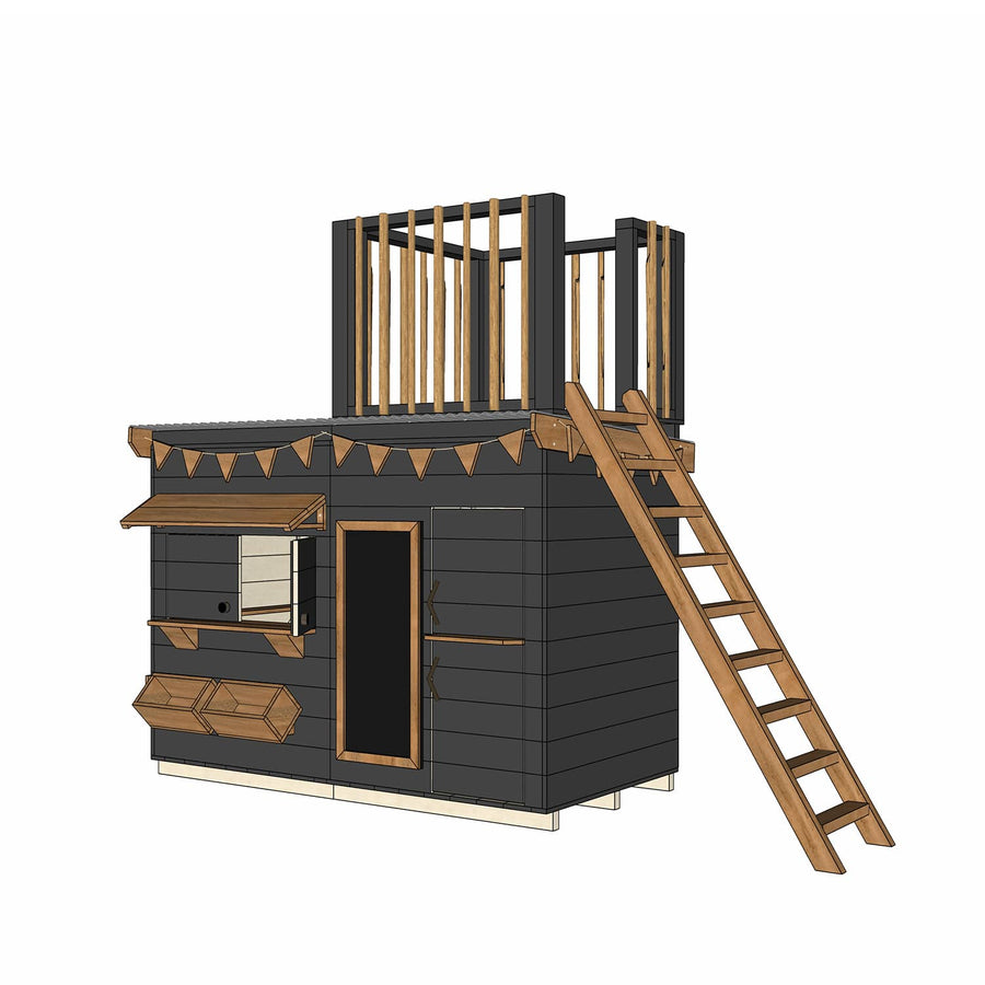Castle and Cubby Timber Cubby House Accessories Painted Fort Top Ladder