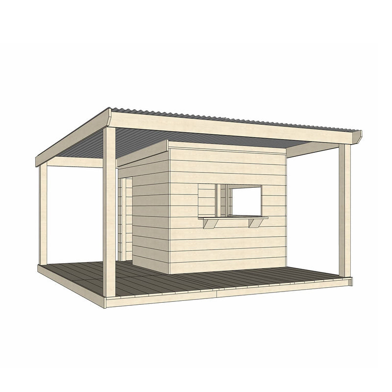 Castle Cubby Painted Timber Cubby House Verandah Decking