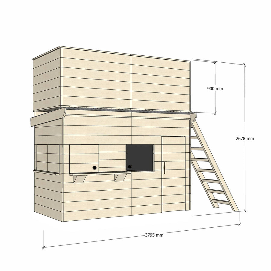 Midi Rectangle Cubby (No Floor) with Double Enclosed Fort Top and Ladder - Raw Basic