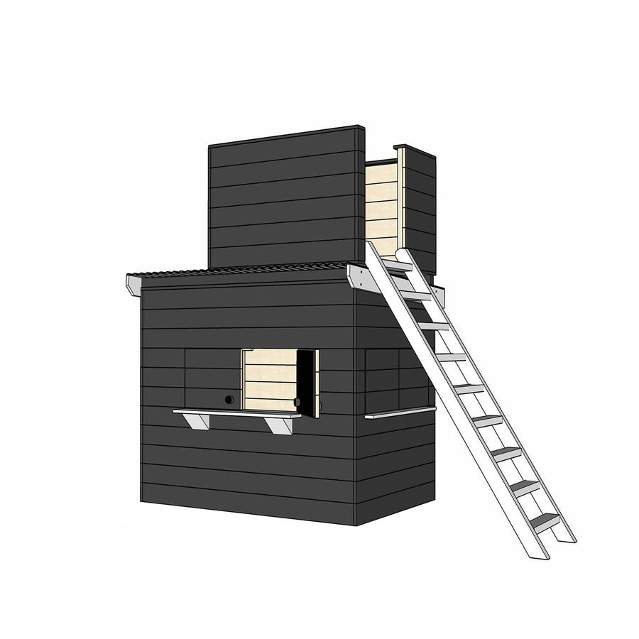 Castle Cubby Painted Timber Cubby House with Fort Top Ladder