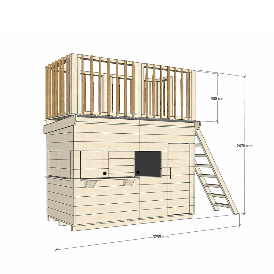 Midi Rectangle Cubby with Double Eucalyptus Post Fort Top and Ladder - Raw Basic