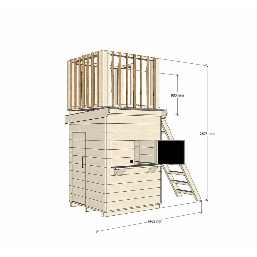 Castle Cubby Raw Timber Cubby House with Fort Top Ladder