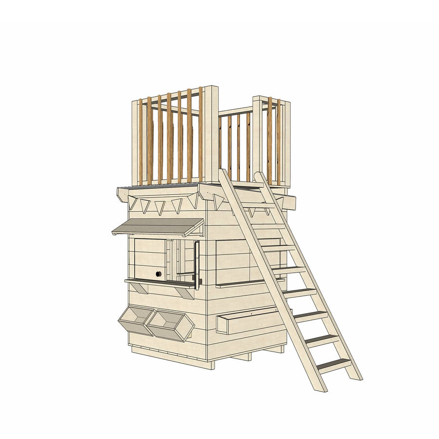 Castle Cubby Raw Timber Cubby House with Fort Top Ladder Accessories