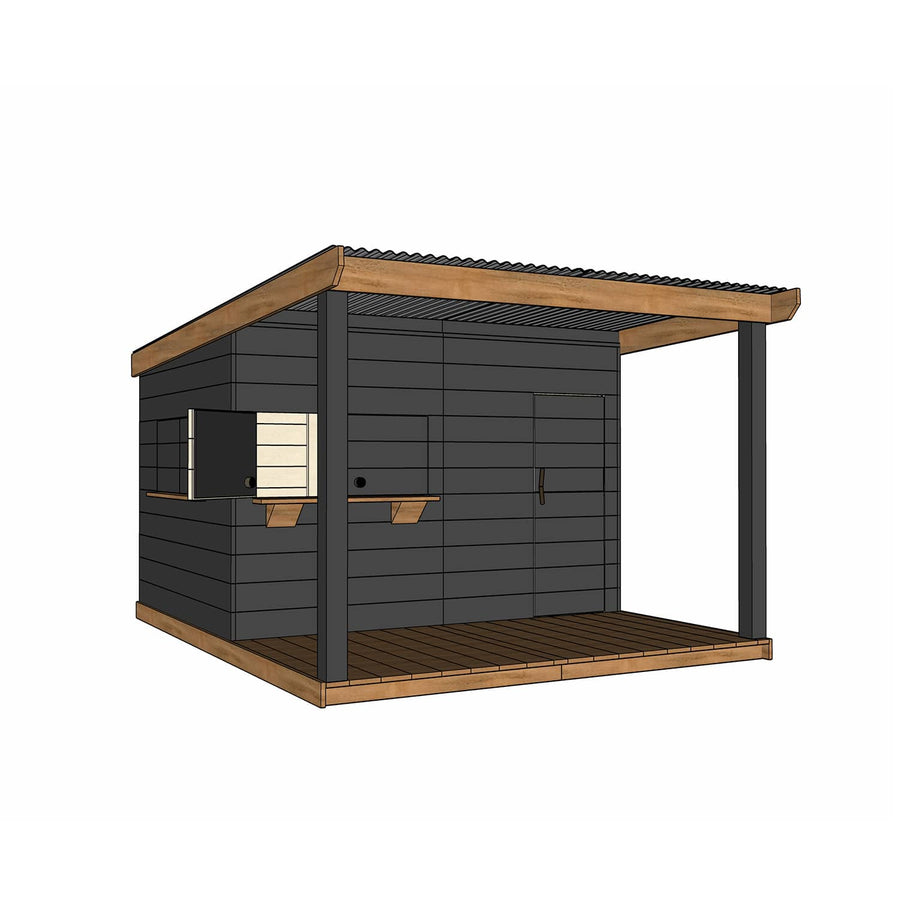 Castle Cubby Painted Timber Cubby House with Extended Verandah Roof Decking