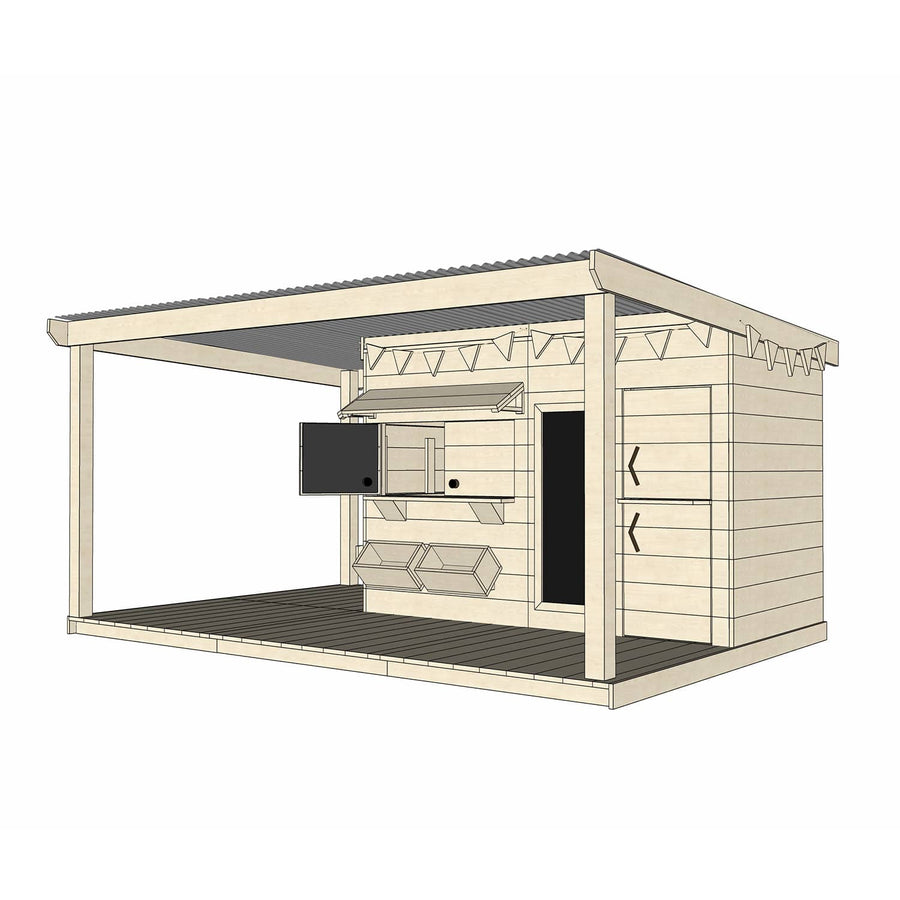 Castle Cubby Raw Timber Cubby House with Extended Verandah Roof Decking Accessories
