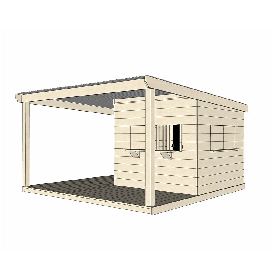 Castle Cubby Raw Timber Cubby House with Extended Verandah Roof Decking