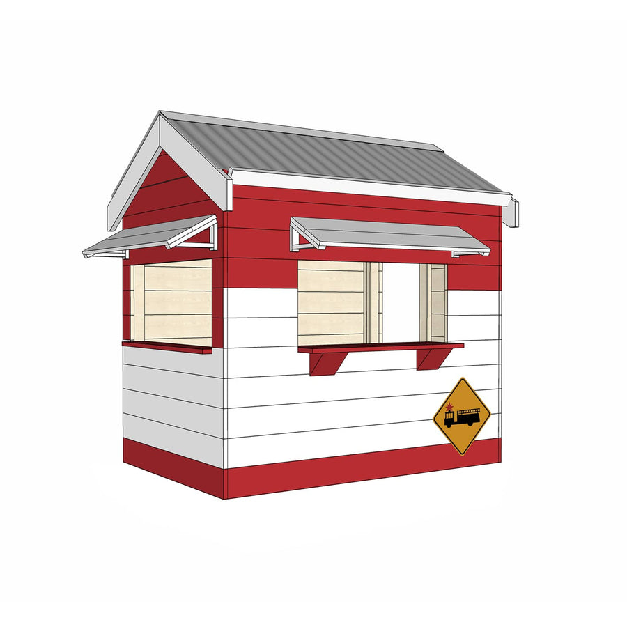 Castle and Cubby Painted Pine Timber Fire Station Themed Cubby House Commercial Education